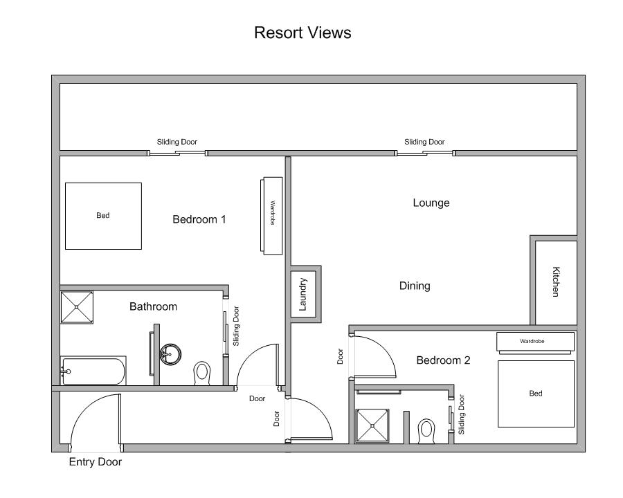 Bowmanii |  2 Bedroom Luxury Private Apartment Sea Temple  Floor Plan