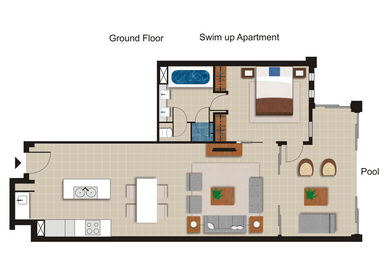 Sea Temple 181 | 1 Bedroom Private Swim Out Apartment Floor Plan