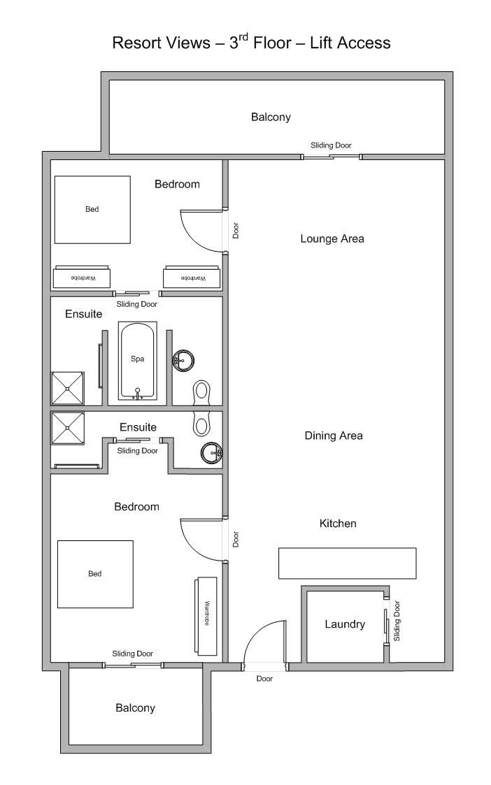 Sea Temple 307 | 2 Bedroom Luxury Private Apartment Floor Plan