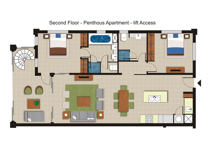 Sea Temple 259 |  2 Bedroom Luxury Private Penthouse Floor Plan
