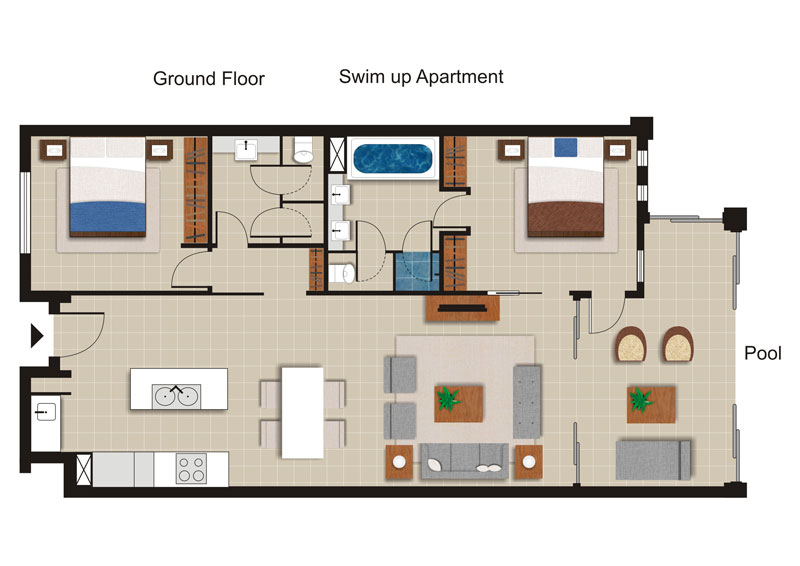 Sea Temple 140 | 2 Bedroom Private Swim Out Apartment Floor Plan