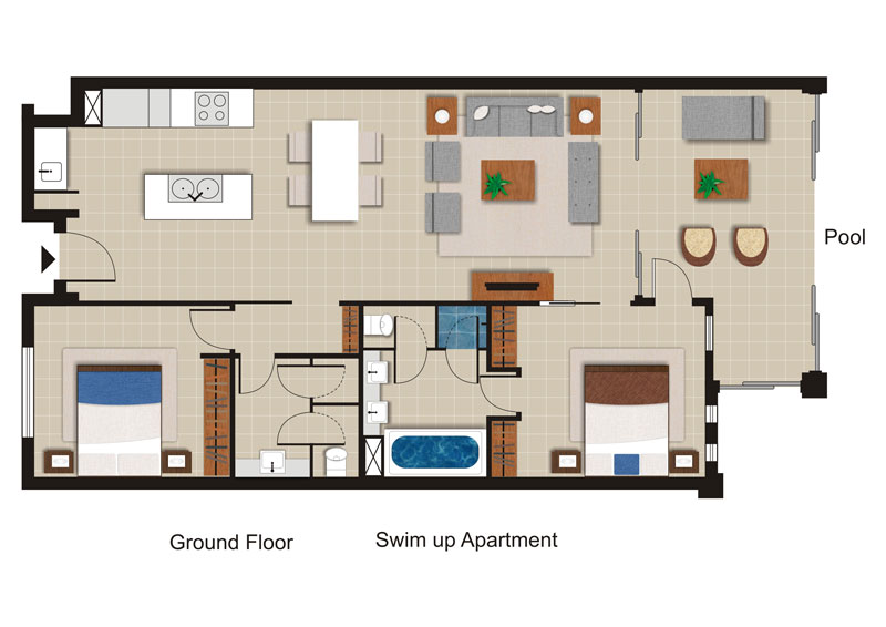 Sea Temple 139 | 2 Bedroom Private Swim Out Apartment Floor Plan