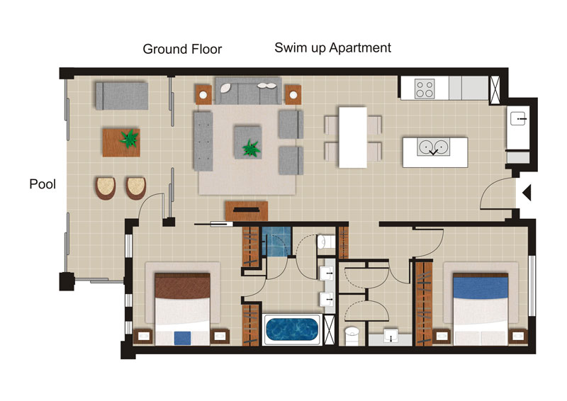 Sea Temple 147 | 2 Bedroom Private Swim Out Apartment Floor Plan