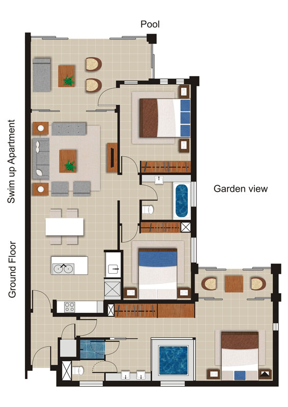 Sea Temple 135 |  3 Bedroom Swim Out Apartment  Floor Plan